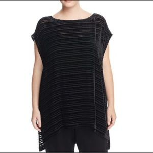 Eileen Fisher black velvet burnout tunic